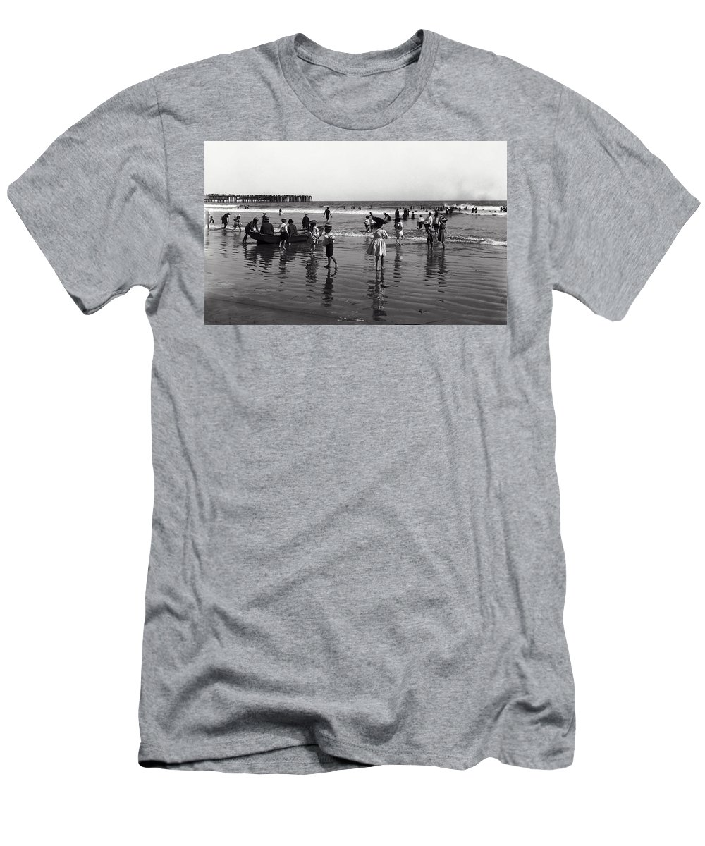 long Beach Men's T-Shirt (Athletic Fit) featuring the photograph Long Beach California Bathers C. 1910 by Daniel Hagerman