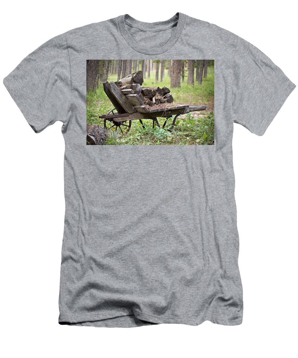Wheelbarrow Men's T-Shirt (Athletic Fit) featuring the photograph Long Winter Coming - Vintage Wheelbarrow - Casper Wyoming by Diane Mintle