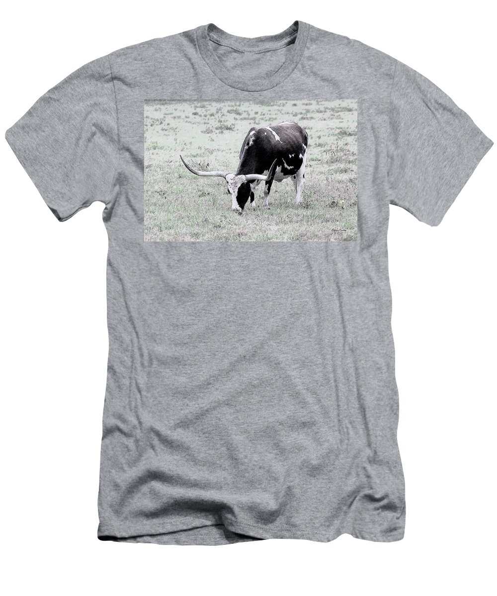Longhorn Men's T-Shirt (Athletic Fit) featuring the drawing Longhorn Sketch by Ericamaxine Price