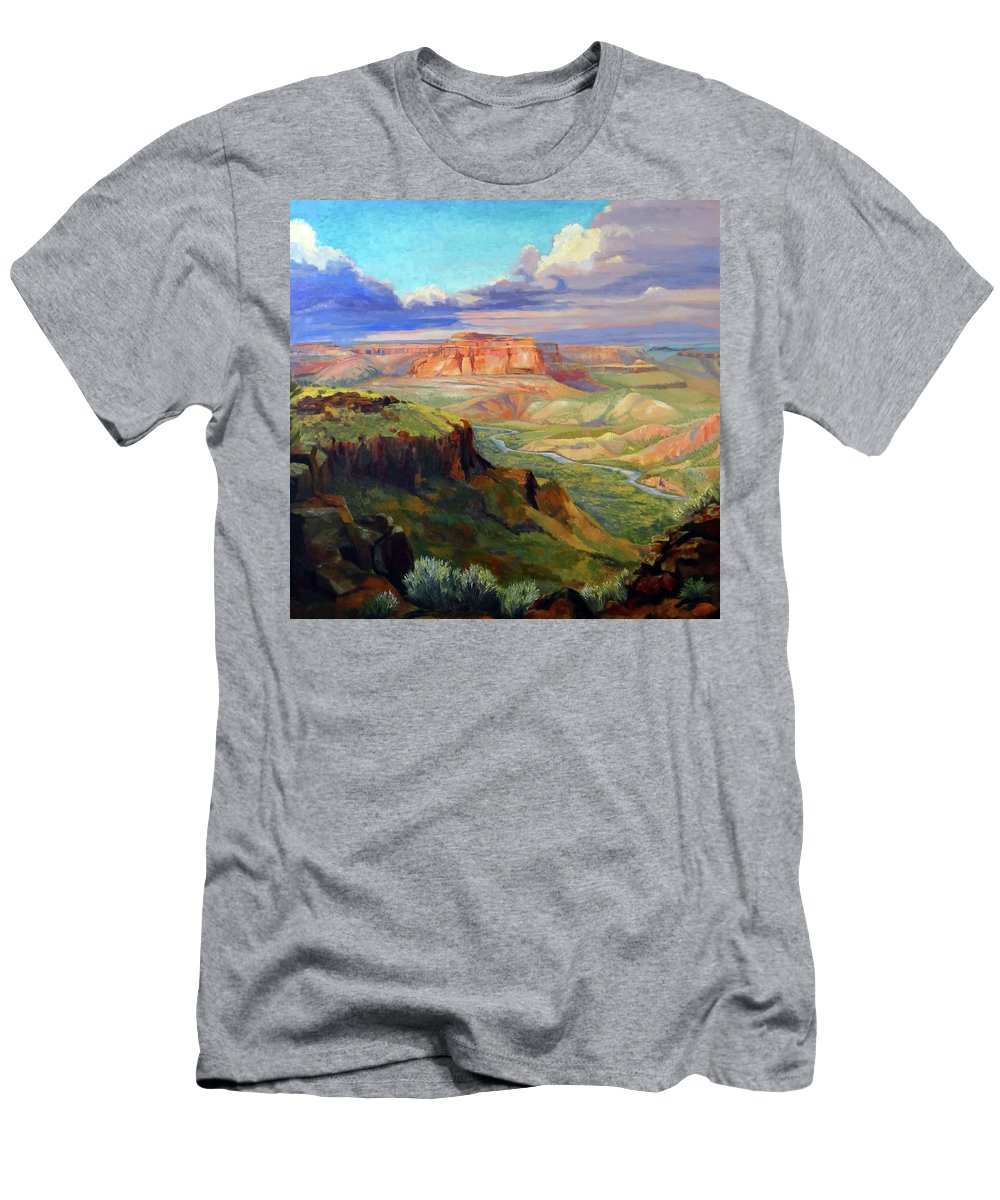 Landscape Men's T-Shirt (Athletic Fit) featuring the painting Look Out At White Rock by Nancy Paris Pruden