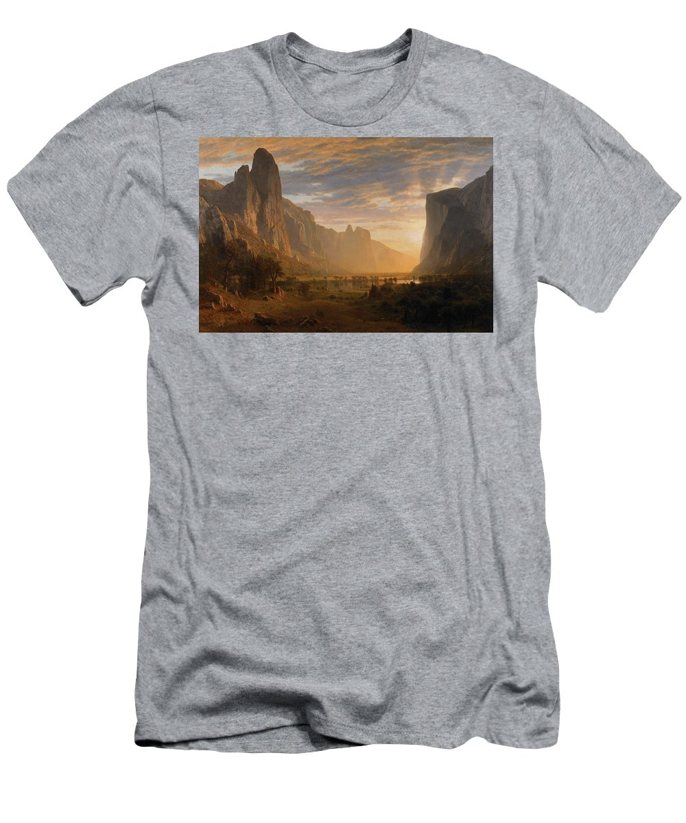 Looking_down_yosemite-valley Men's T-Shirt (Athletic Fit) featuring the painting Looking Down Yosemite by MotionAge Designs
