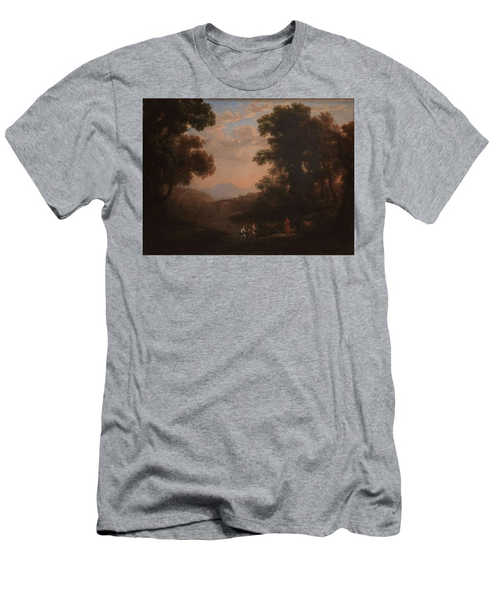 Nature Men's T-Shirt (Athletic Fit) featuring the painting Lorena, Claudio De Chamagne, 1600 - Roma, 1682 Ford Of A River Ca. 1636 by LORENA CLAUDIO DE Chamagne