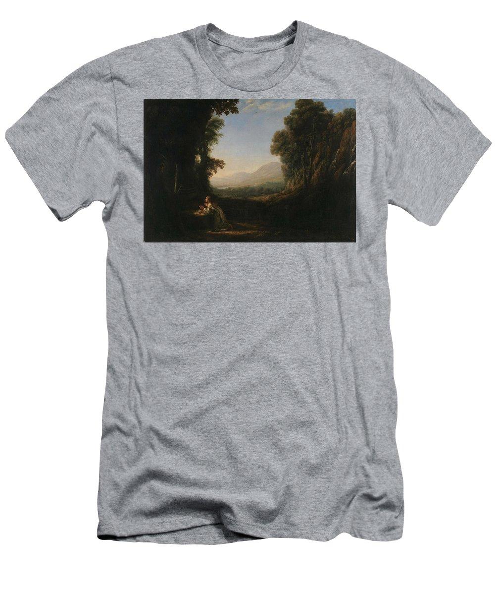 Nature Men's T-Shirt (Athletic Fit) featuring the painting Lorena, Claudio De Chamagne, 1600 - Roma, 1682 Landscape With Saint Mary Of Cervello Ca. 1637. by LORENA CLAUDIO DE Chamagne