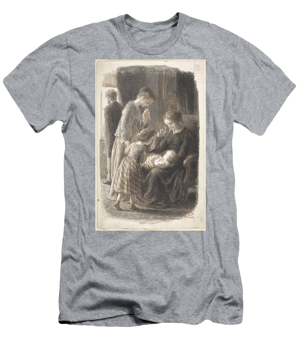 Girl Men's T-Shirt (Athletic Fit) featuring the painting Lorenz Frolich Danish, Copenhagen 1820-1908 Hellerup, The Young Family by Artistic Rifki