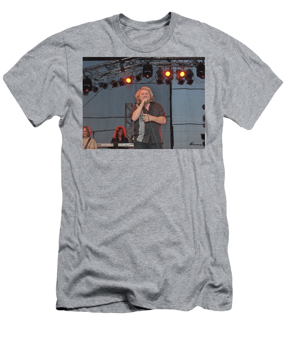 Lou Gramm Band Music Singer Rock And Roll Concert Lead Vocals Men's T-Shirt (Athletic Fit) featuring the photograph Lou Gramm by Andrea Lawrence
