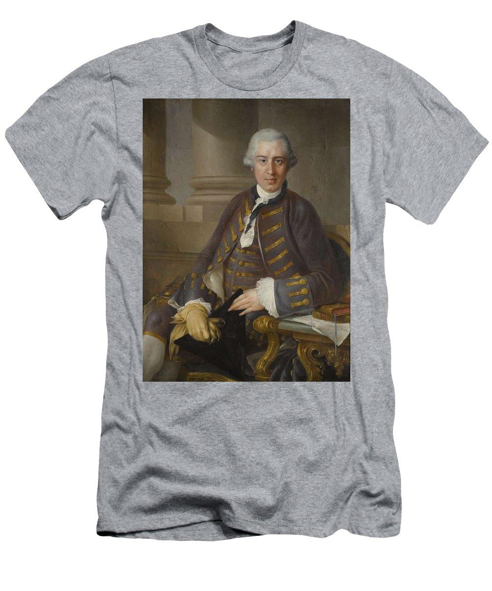 Man Men's T-Shirt (Athletic Fit) featuring the painting Louis-gabriel Blanchet Paris 1705 - 1772  Portrait Of A Gentleman by Louis-Gabriel Blanchet