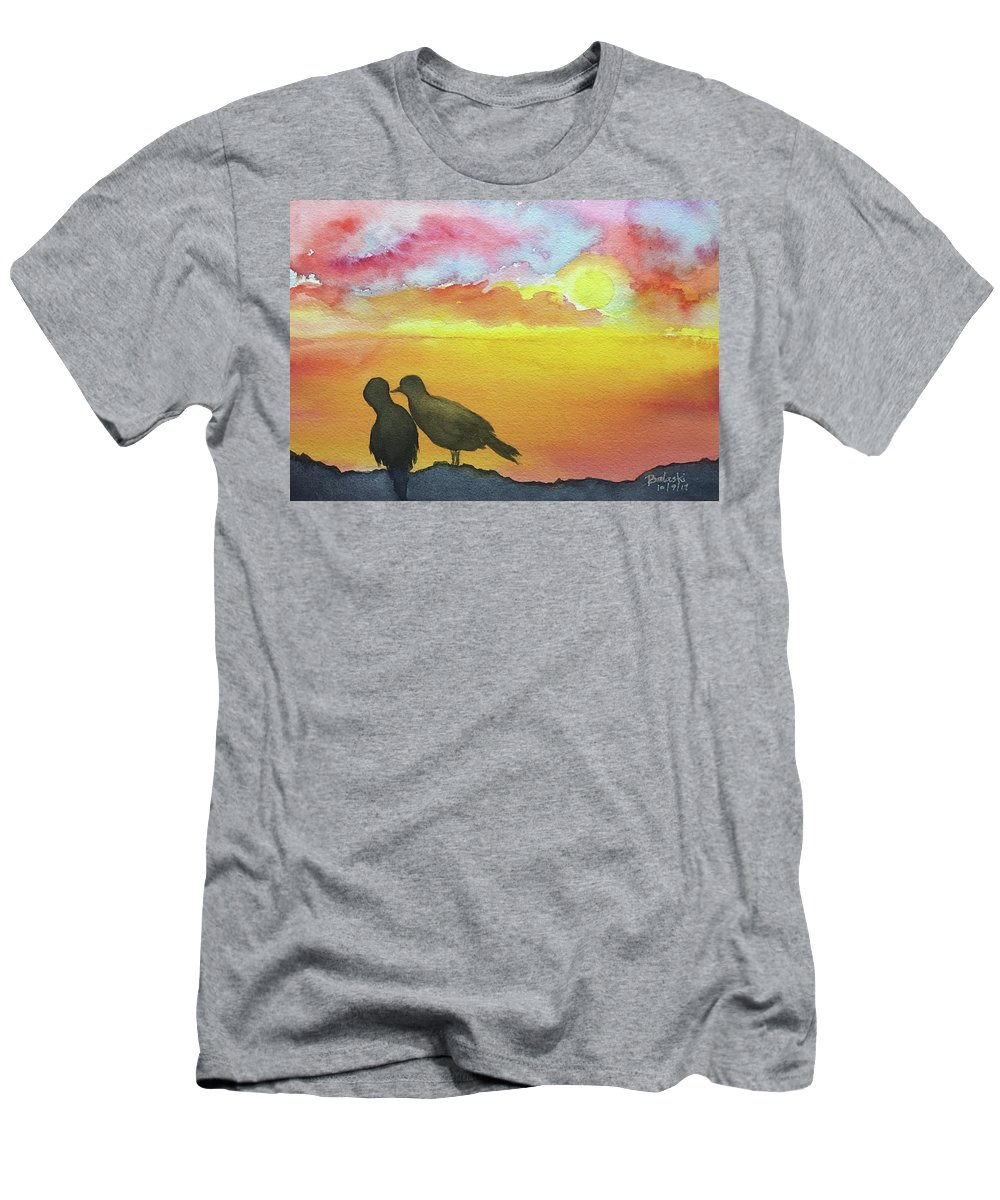 Watercolour Wild Life Landscape Seascape Birds Silhouetted Blazing Sunset Or Blue Yellow Reds Sea Of Orange Golds A Peck A Stolen Kiss Whispering Men's T-Shirt (Athletic Fit) featuring the painting Love Birds by Belinda Balaski
