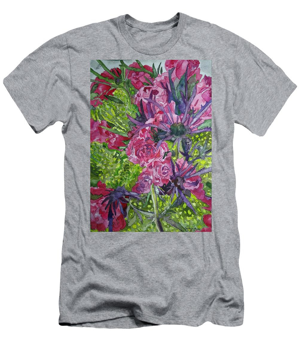 Flowers Men's T-Shirt (Athletic Fit) featuring the painting Love For Roses by Carissa Munoz