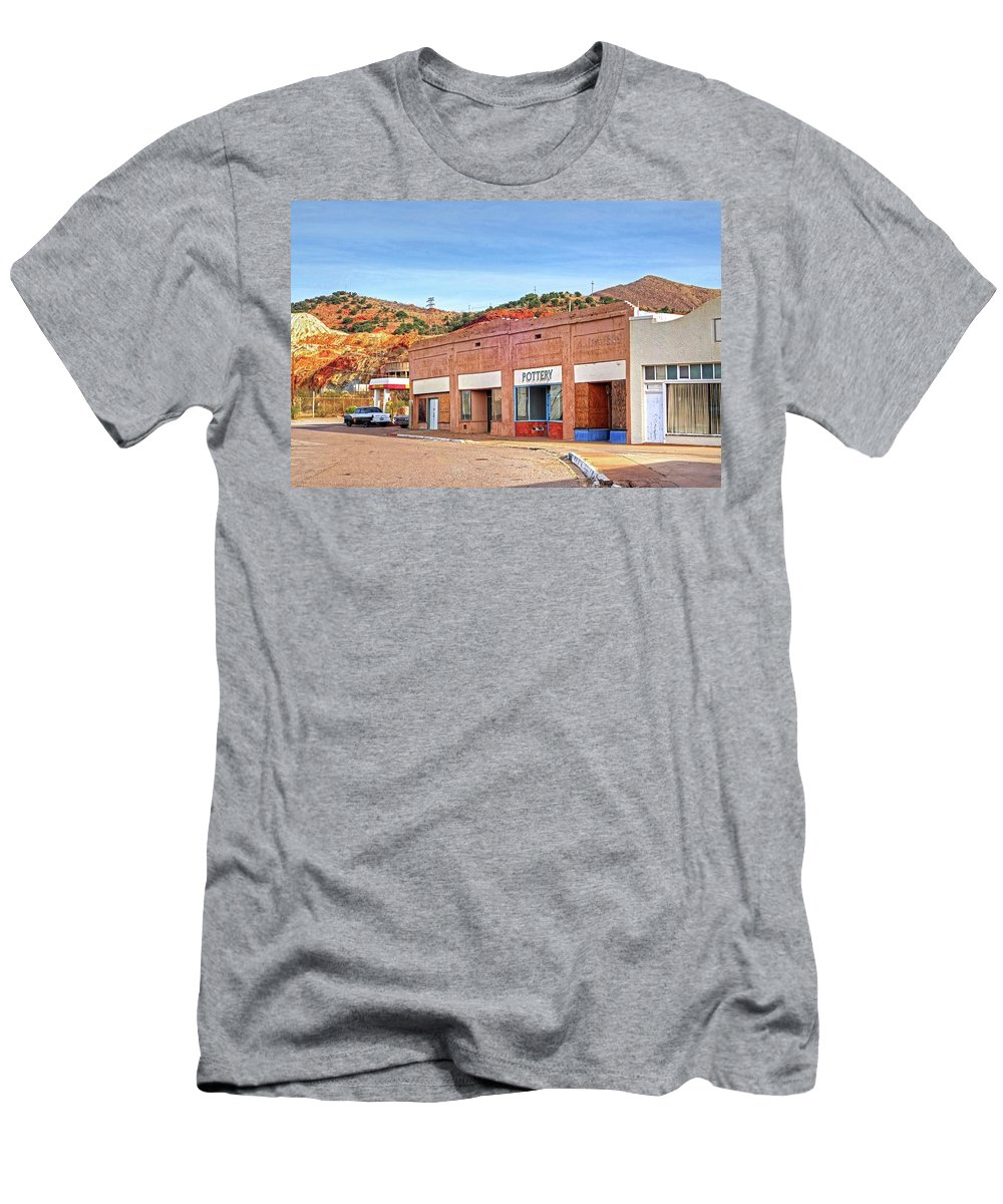 Lowell Men's T-Shirt (Athletic Fit) featuring the photograph Lowell Arizona Pottery Building Old Police Car by Toby McGuire