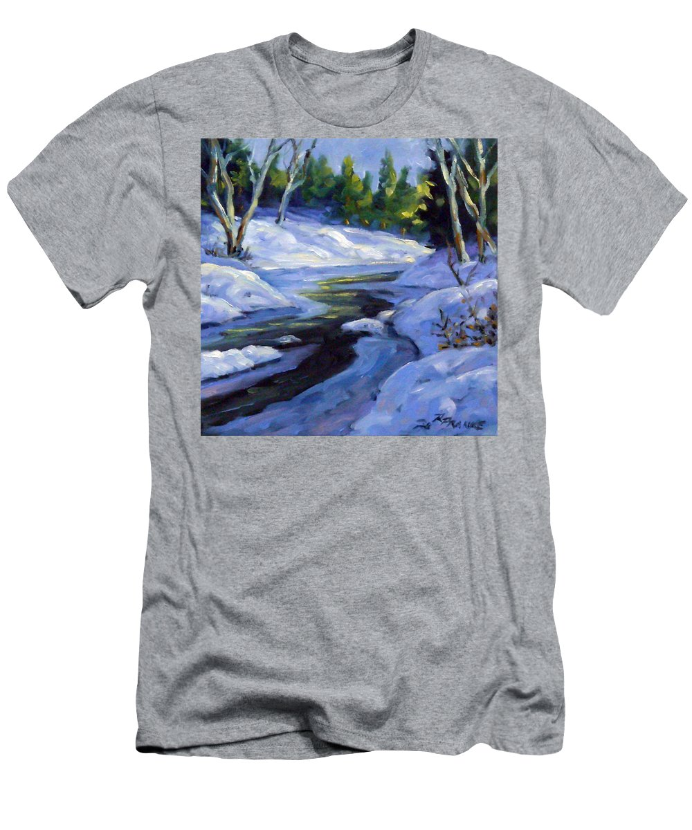 Art Men's T-Shirt (Athletic Fit) featuring the painting Luminous Snow by Richard T Pranke