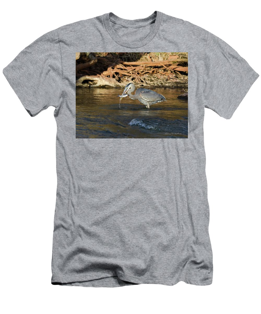 Heron Men's T-Shirt (Athletic Fit) featuring the photograph Lunch On The Neuse River by George Randy Bass