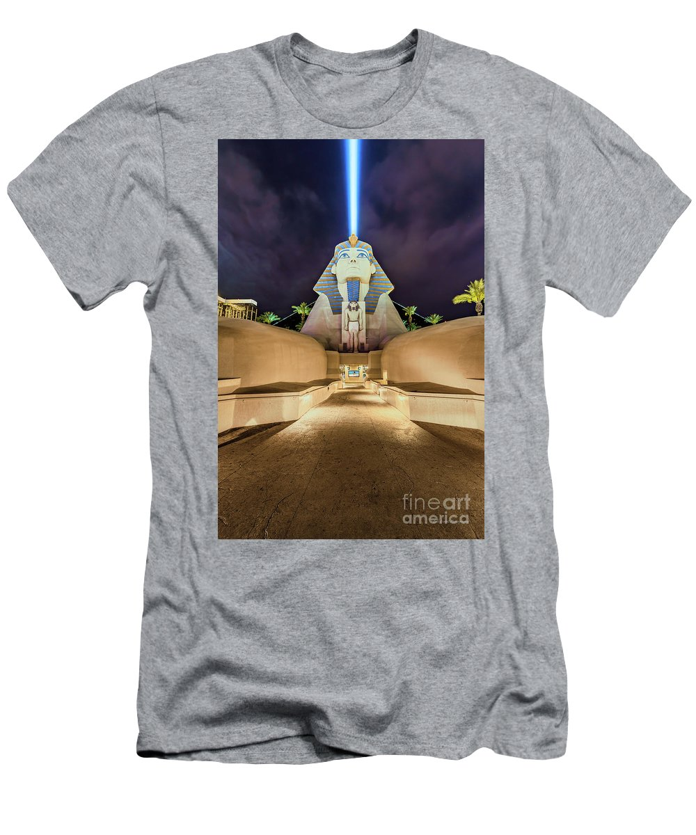 Luxor Men's T-Shirt (Athletic Fit) featuring the photograph Luxor Casino Egyptian Sphinx Las Vegas Night by Aloha Art
