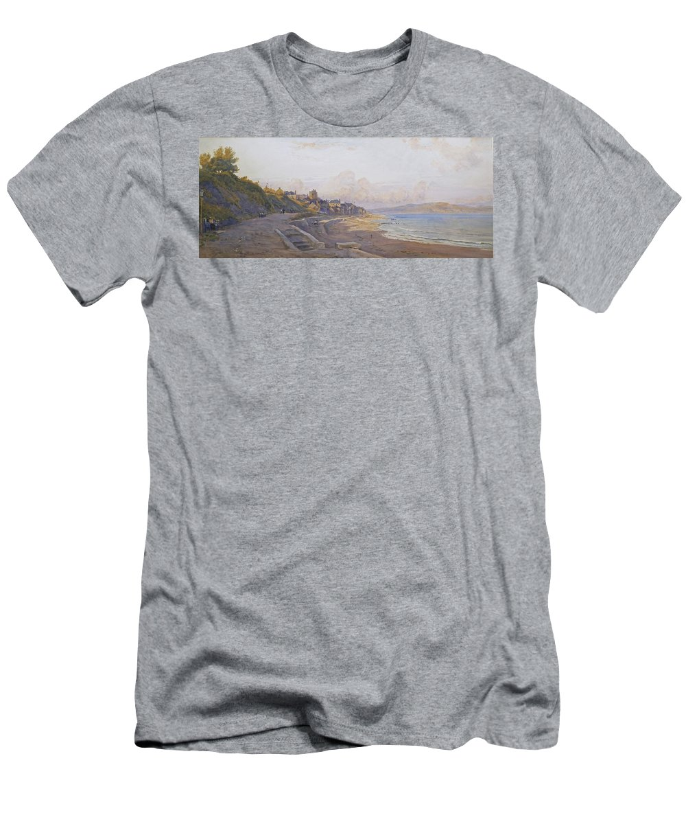 Robert Thorne Waite Men's T-Shirt (Athletic Fit) featuring the painting Lyme Regis Dorset by MotionAge Designs