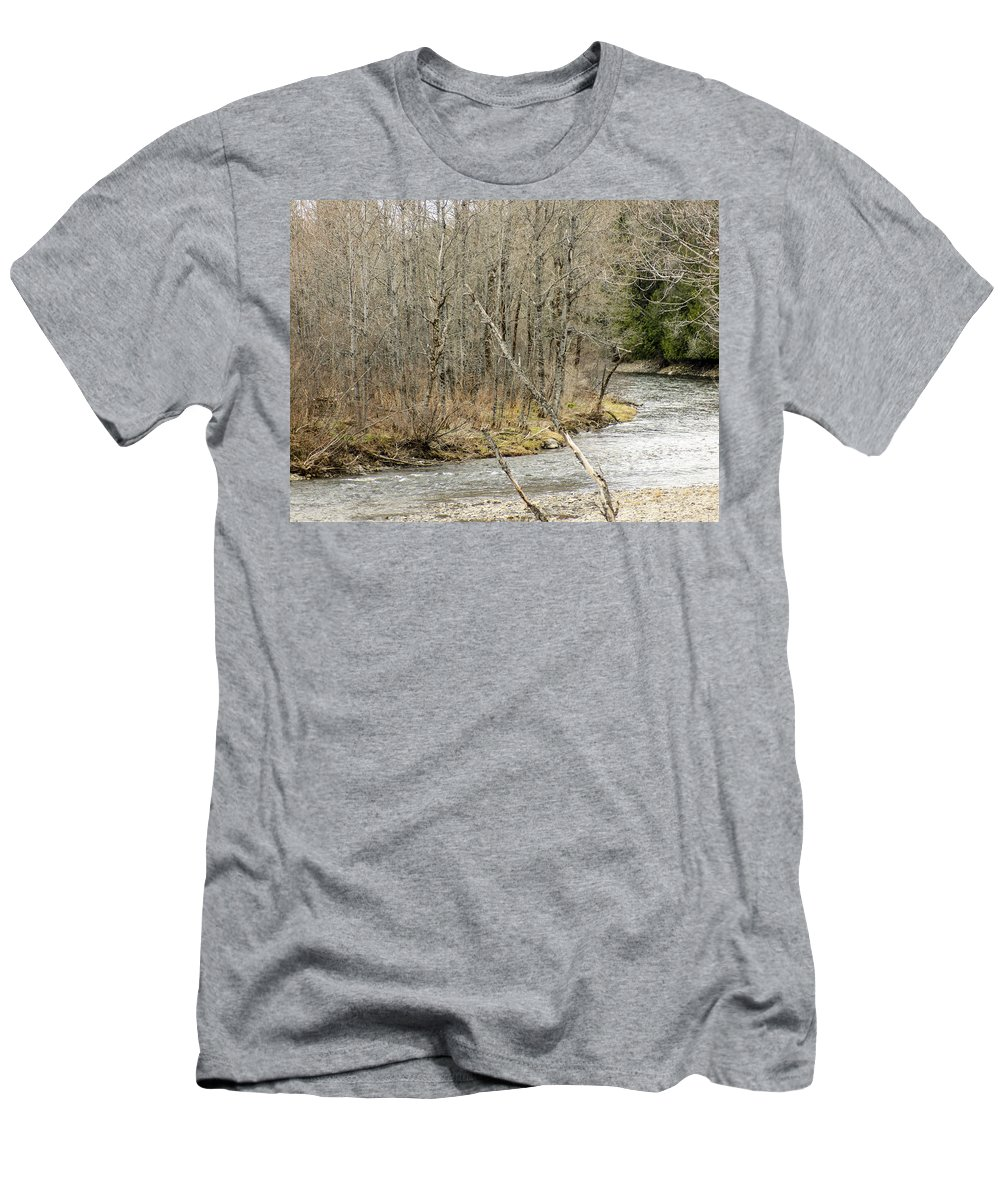Stream Men's T-Shirt (Athletic Fit) featuring the photograph Madawaska Stream Bend by William Tasker