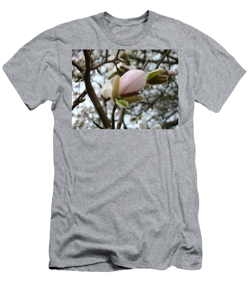 Magnolia Men's T-Shirt (Athletic Fit) featuring the photograph Magnolia Flower Pink White 19 Magnolia Tree Spring Art by Baslee Troutman
