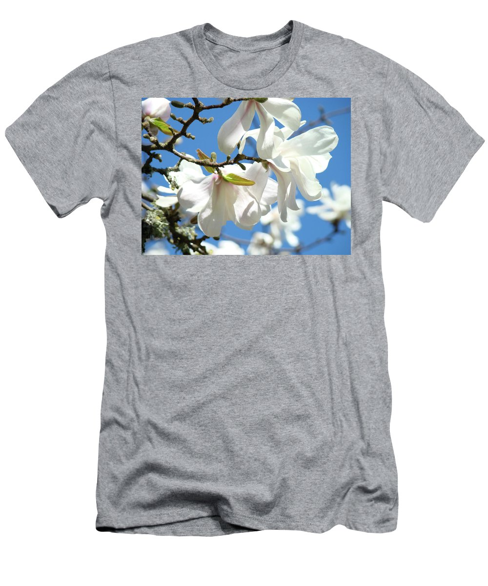 Magnolia Men's T-Shirt (Athletic Fit) featuring the photograph Magnolia Flowers Floral Art Spring Flowering Tree Baslee Troutman by Baslee Troutman