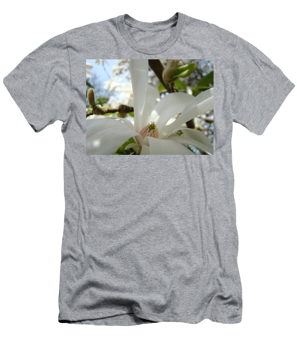 Magnolia Men's T-Shirt (Athletic Fit) featuring the photograph Magnolia Flowers White Magnolia Tree Flower Art Spring Baslee Troutman by Baslee Troutman
