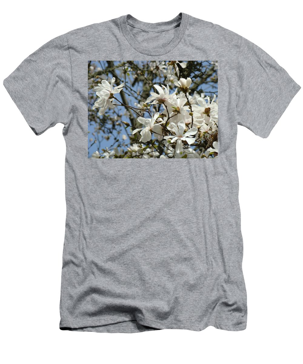 Magnolia Men's T-Shirt (Athletic Fit) featuring the photograph Magnolia Flowers White Magnolia Tree Flowers Art Prints by Baslee Troutman