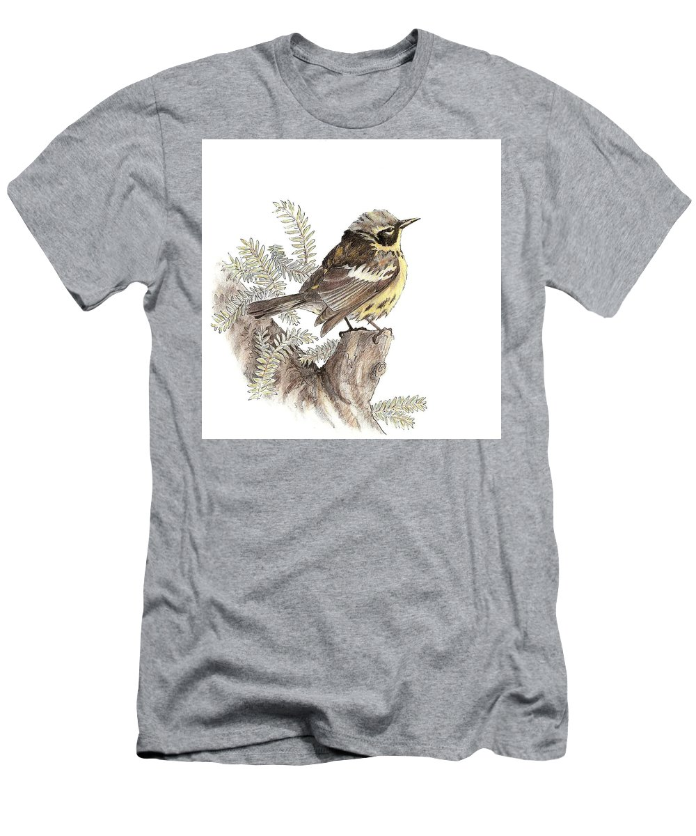 Magnolia Warbler Men's T-Shirt (Athletic Fit) featuring the drawing Magnolia Warbler by Abby McBride