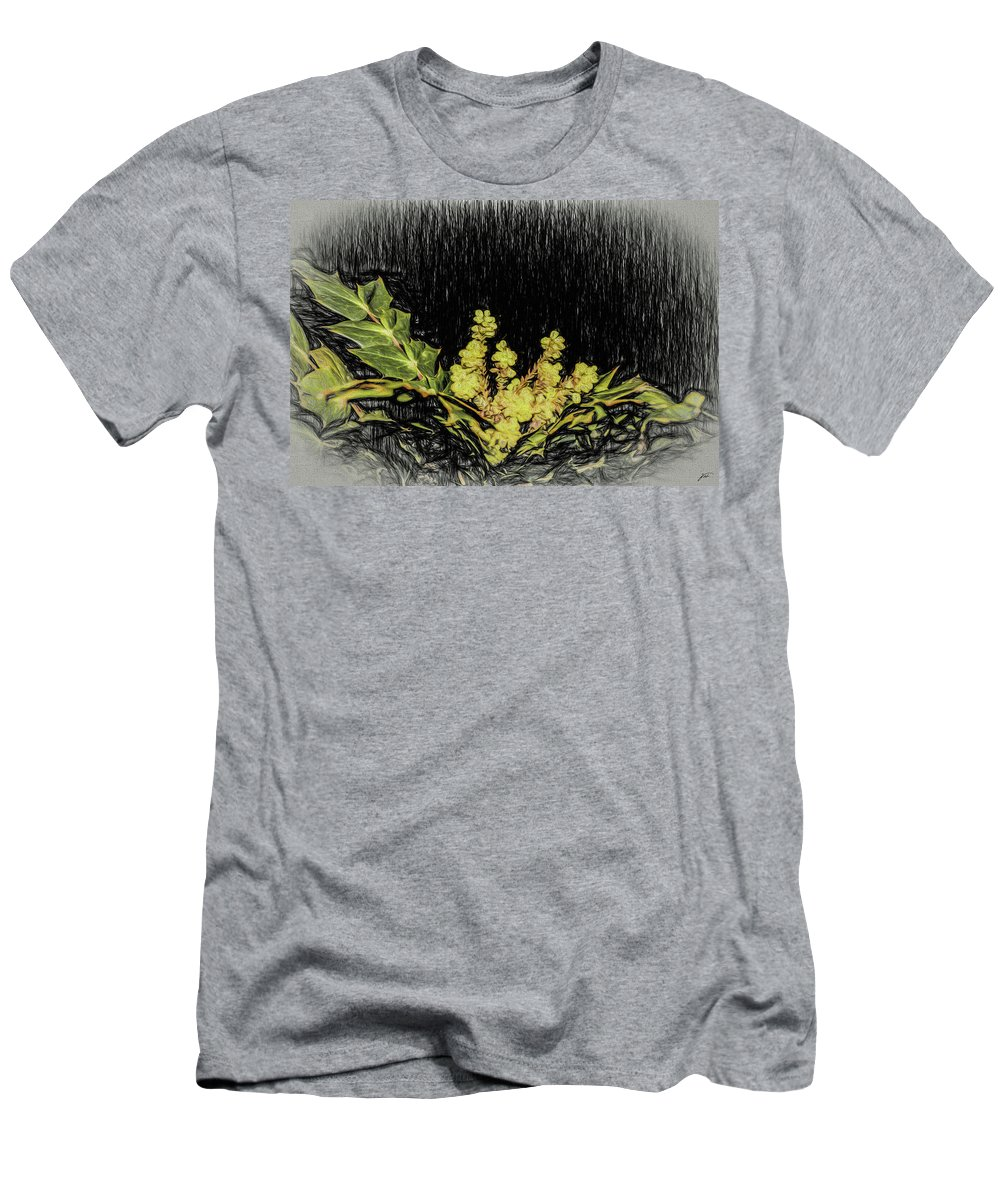 Plants Men's T-Shirt (Athletic Fit) featuring the photograph Mahonia Blossom by Thomas Fields