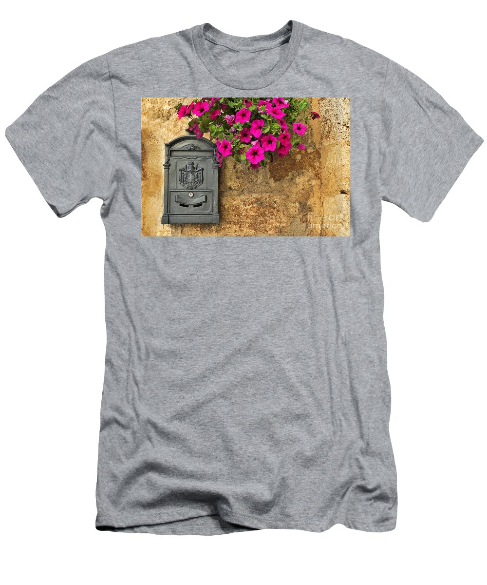 Mailbox Men's T-Shirt (Athletic Fit) featuring the photograph Mailbox With Petunias by Silvia Ganora