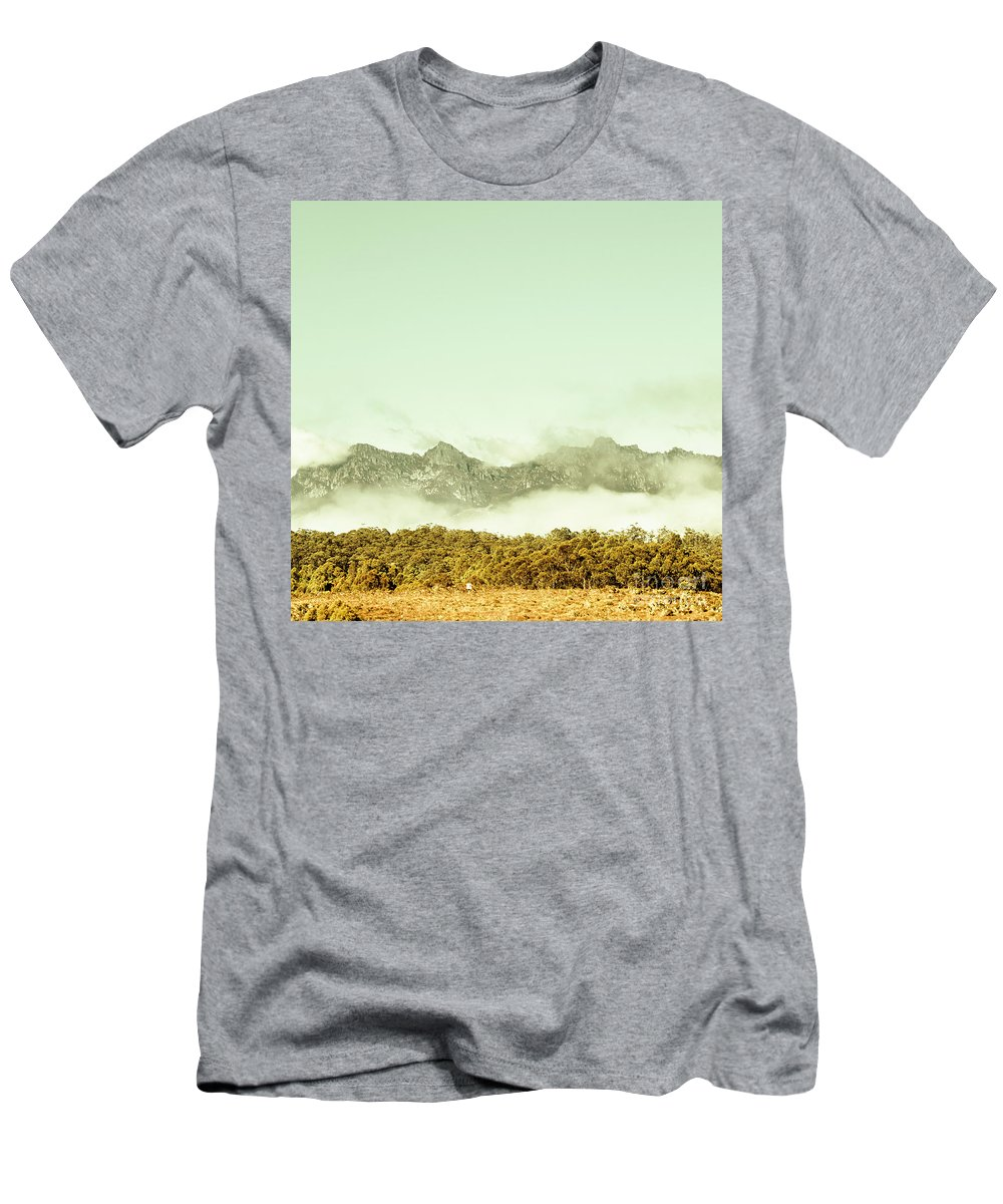 Mountains Men's T-Shirt (Athletic Fit) featuring the photograph Majestic Misty Mountains by Jorgo Photography - Wall Art Gallery