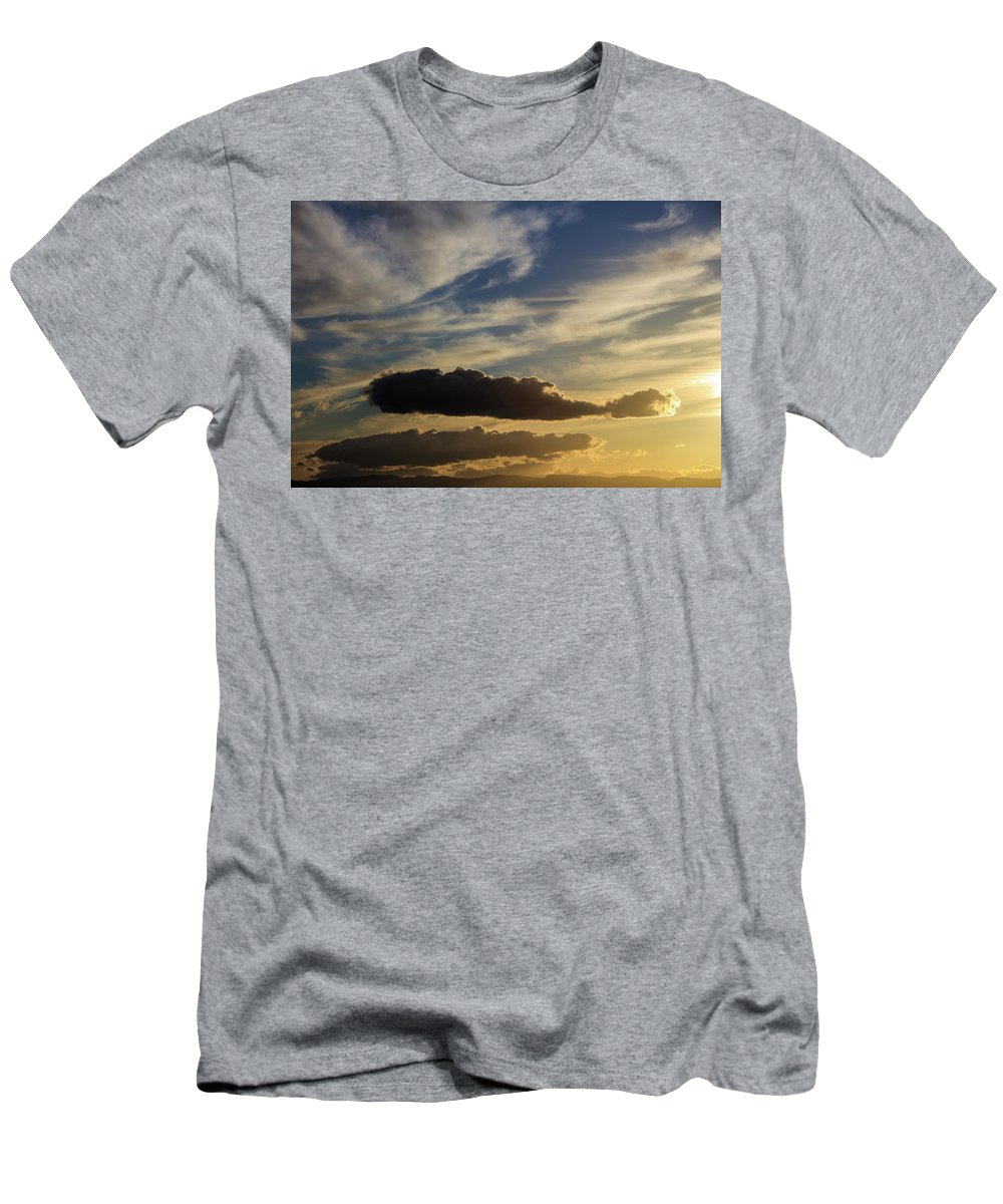 Sunset Men's T-Shirt (Athletic Fit) featuring the photograph Majestic Vivid Sunset Over Dark Mountains by George Tsartsianidis