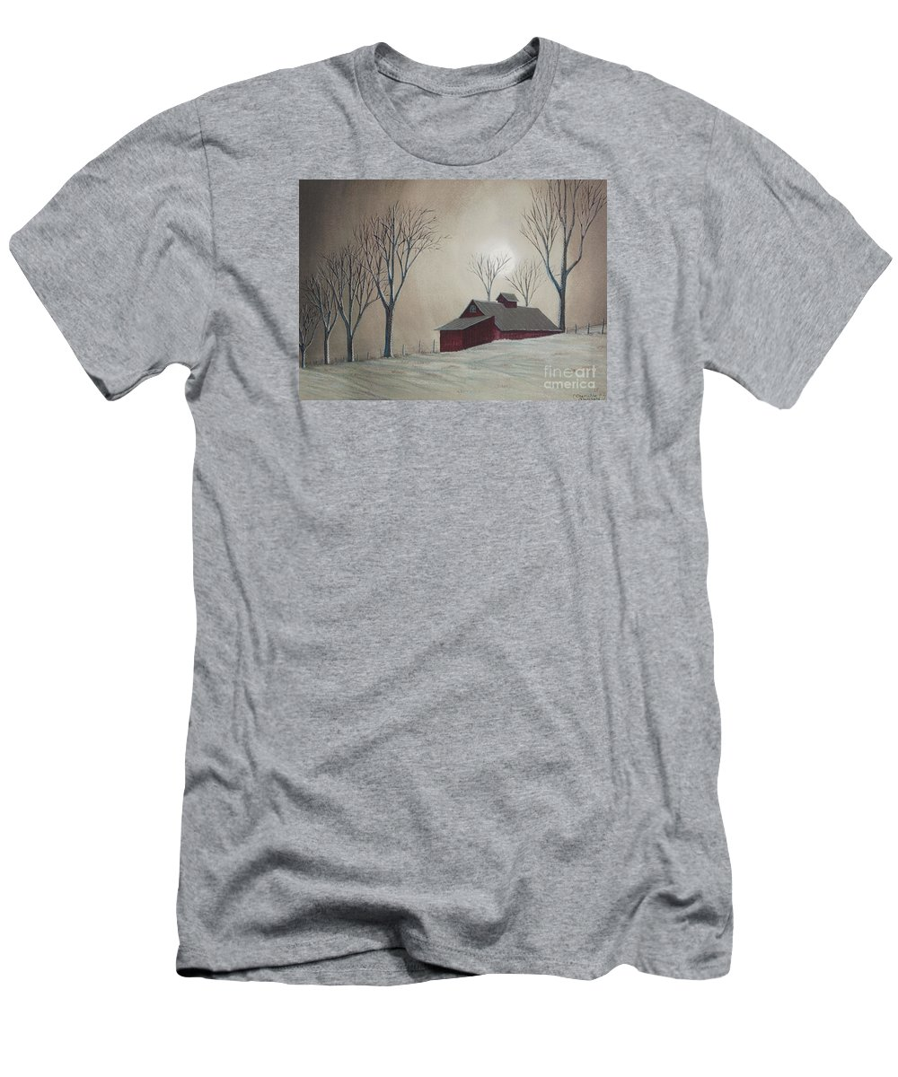Winter Scene Paintings Men's T-Shirt (Athletic Fit) featuring the painting Majestic Winter Night by Charlotte Blanchard