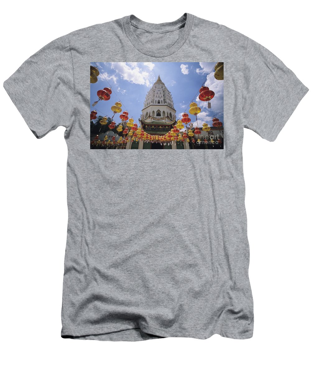 Allan Seiden Men's T-Shirt (Athletic Fit) featuring the photograph Malaysian Temple by Allan Seiden - Printscapes