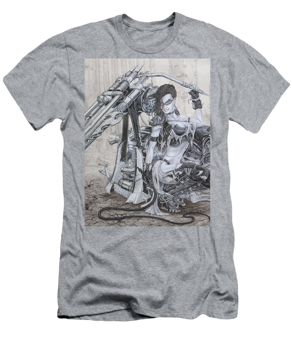 #bike Men's T-Shirt (Athletic Fit) featuring the drawing Malice by Kristopher VonKaufman