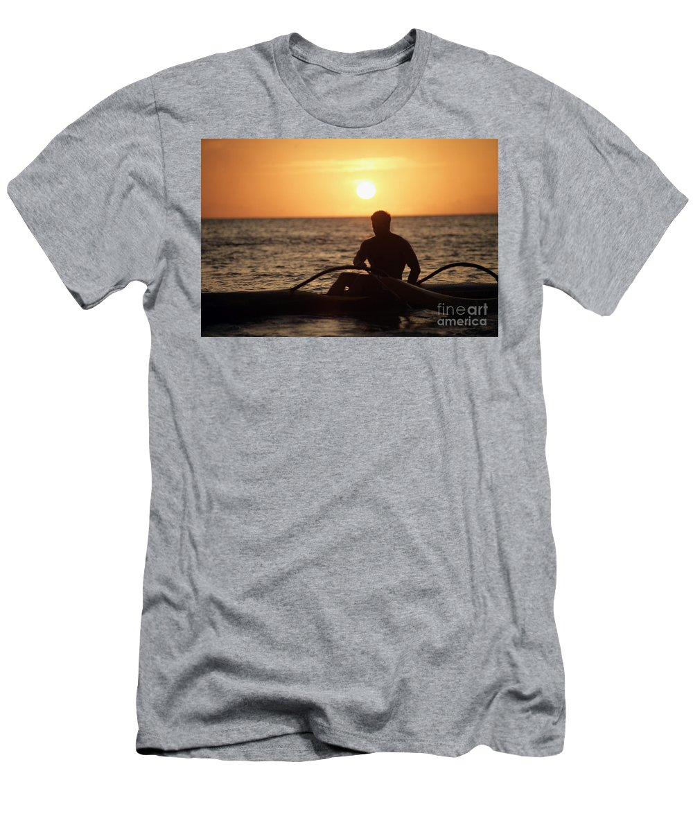 Afternoon Men's T-Shirt (Athletic Fit) featuring the photograph Man In Canoe by Sri Maiava Rusden - Printscapes