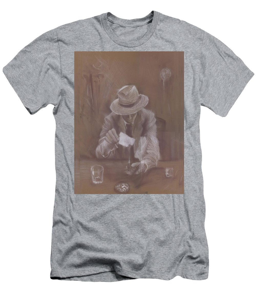 Man Men's T-Shirt (Athletic Fit) featuring the drawing Man With Heat by Jovica Kostic