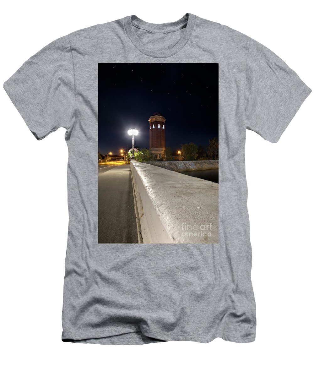Manistique Men's T-Shirt (Athletic Fit) featuring the photograph Manistique Water Tower Big Dipper -2293 by Norris Seward