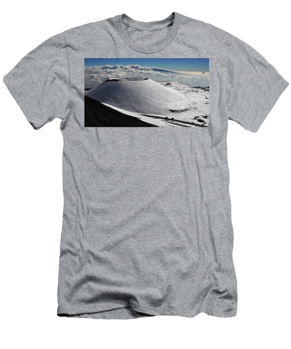 Mauna Kea Men's T-Shirt (Athletic Fit) featuring the photograph Mauna Kea Dressed In Snow by Heidi Fickinger