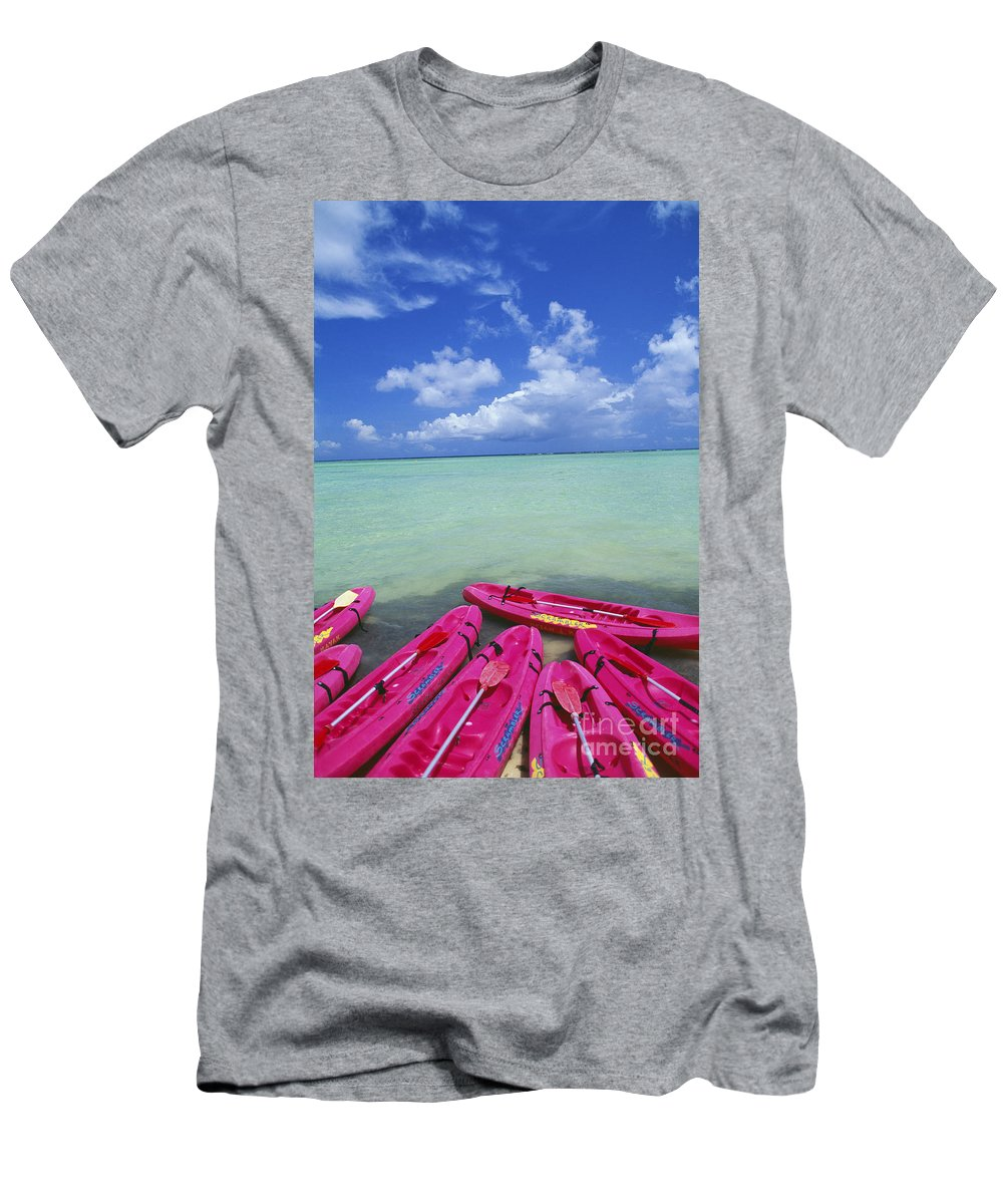 Afternoon Men's T-Shirt (Athletic Fit) featuring the photograph Many Pink Kayaks by Dana Edmunds - Printscapes