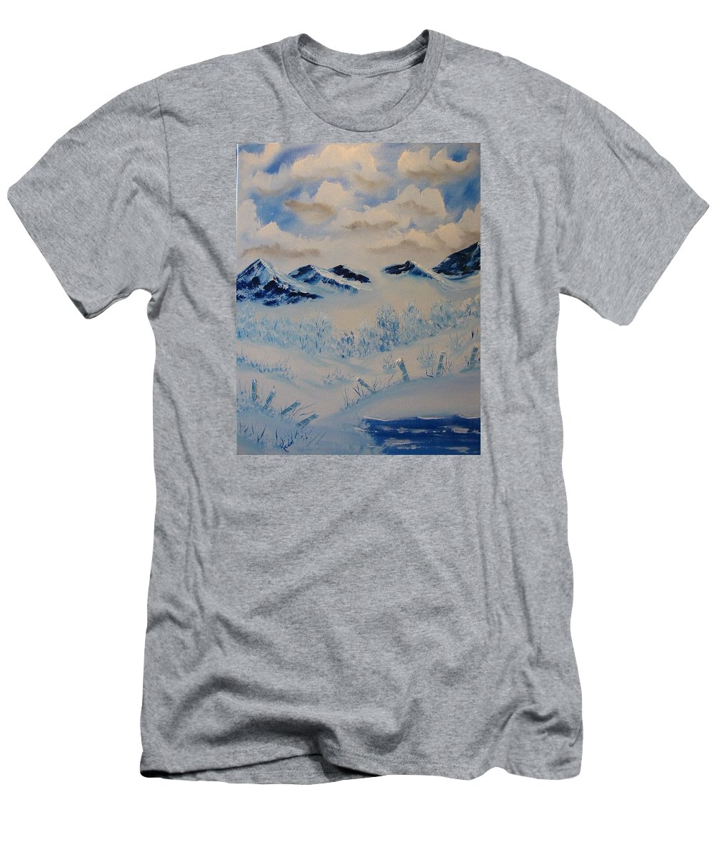 Blue Men's T-Shirt (Athletic Fit) featuring the painting Many Valleys by Laurie Kidd