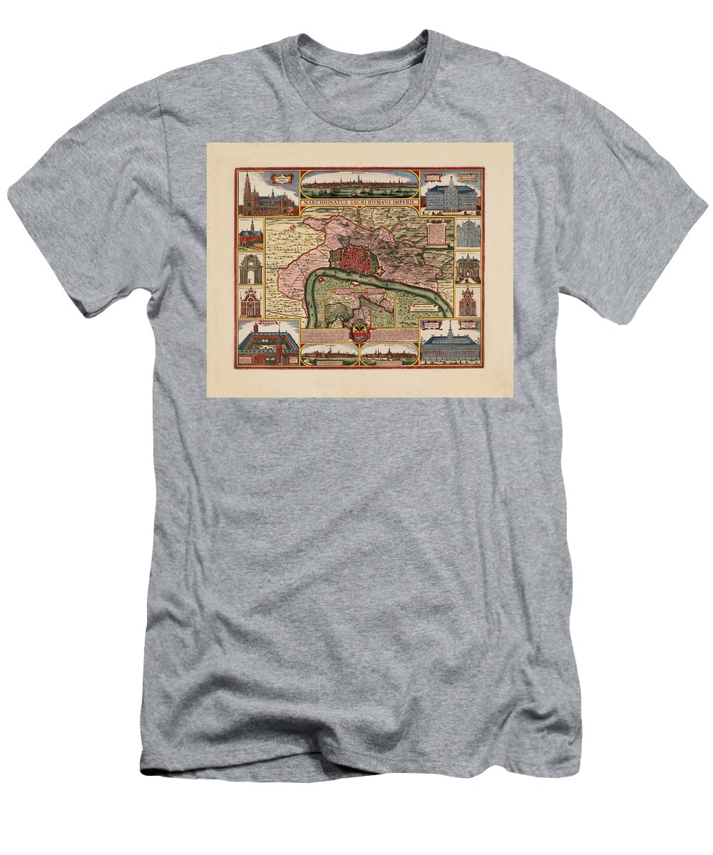 Map Of Antwerp Men's T-Shirt (Athletic Fit) featuring the photograph Map Of Antwerp 1675 by Andrew Fare