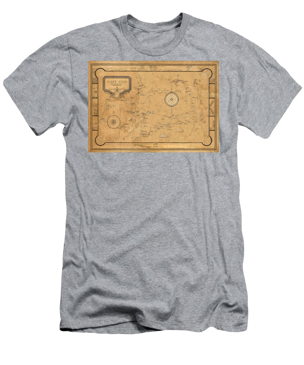 Map Of Cape Cod Men's T-Shirt (Athletic Fit) featuring the photograph Map Of Cape Cod 1931 by Andrew Fare