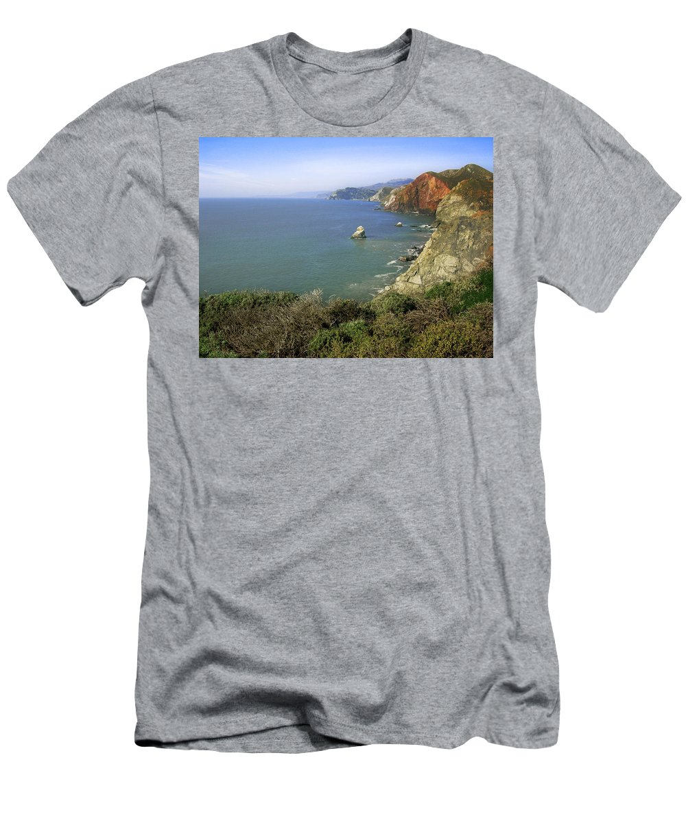 Ocean Men's T-Shirt (Athletic Fit) featuring the photograph Marin Headlands 1 by Karen W Meyer