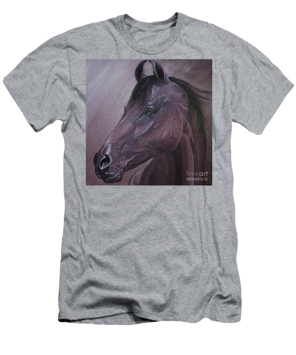 Horse Marwari Equine Purple Men's T-Shirt (Athletic Fit) featuring the painting Marwari Purple by Pauline Sharp