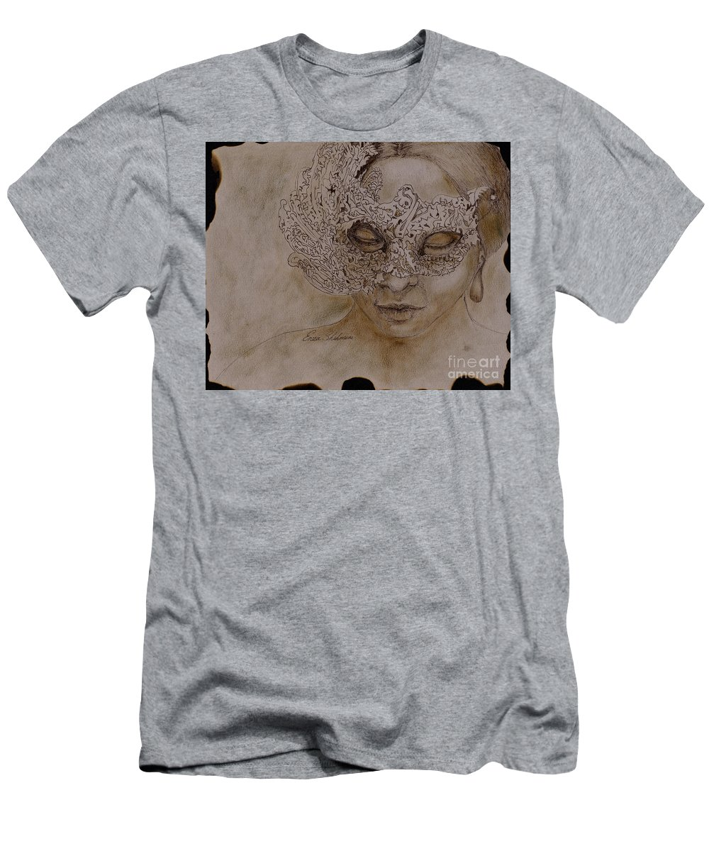 Mask Men's T-Shirt (Athletic Fit) featuring the drawing Masquerade by Portraits By NC