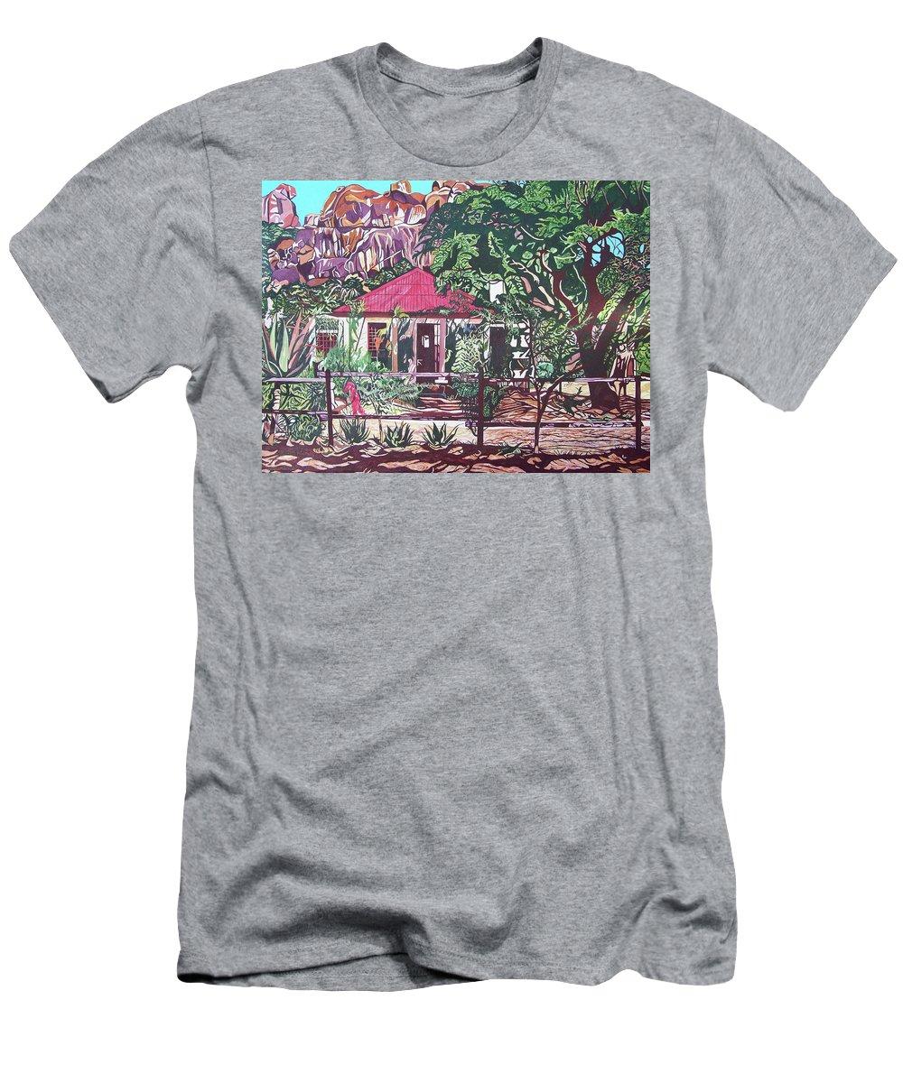 Valentine Magutsa Men's T-Shirt (Athletic Fit) featuring the painting Matopo Rock Lodge by Valentine Magutsa