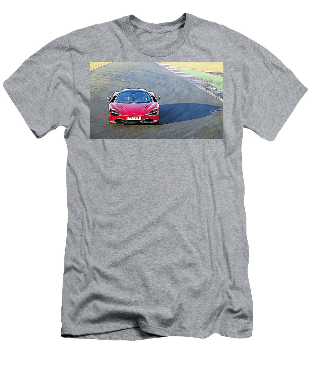 Mclaren 720s Men's T-Shirt (Athletic Fit) featuring the digital art Mclaren 720s by Lora Battle