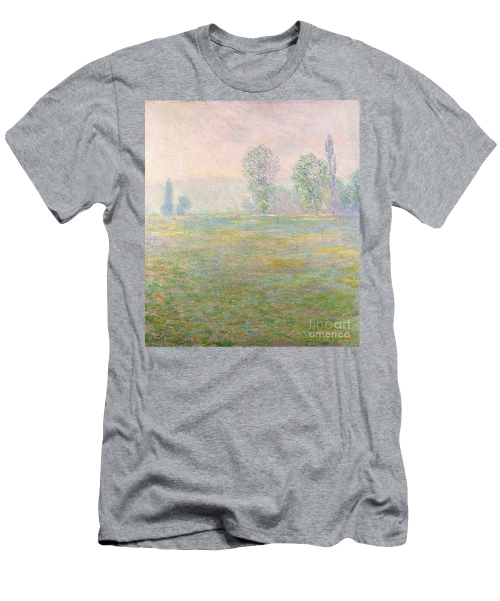 Meadows In Giverny Men's T-Shirt (Athletic Fit) featuring the painting Meadows In Giverny by Claude Monet