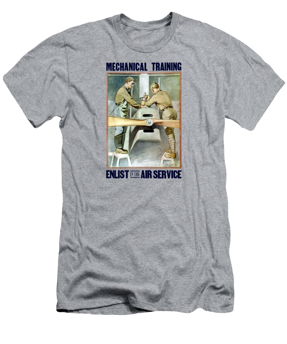 Ww1 Men's T-Shirt (Athletic Fit) featuring the painting Mechanical Training - Enlist In The Air Service by War Is Hell Store