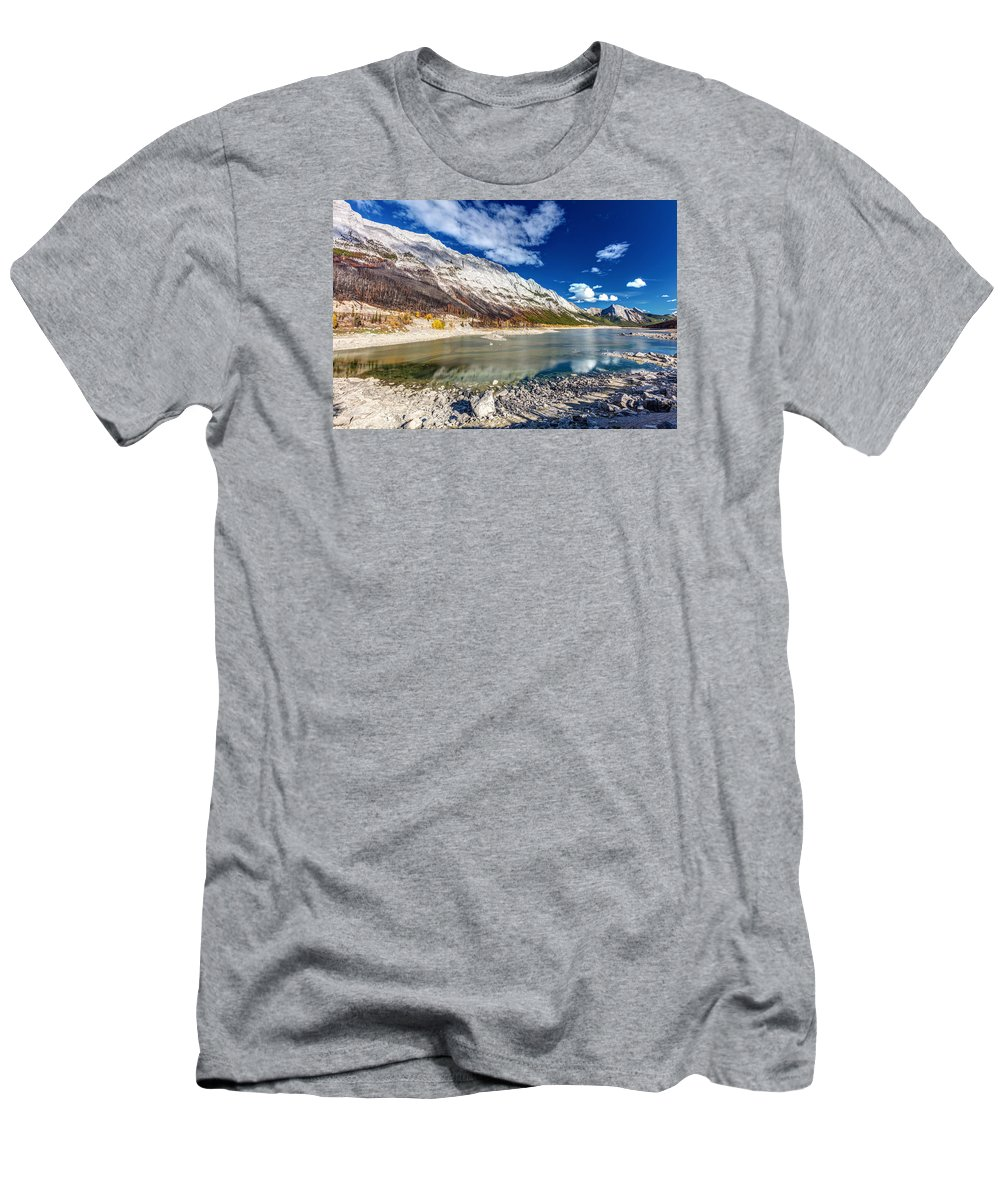 Jasper National Park Men's T-Shirt (Athletic Fit) featuring the photograph Medicine Lake Jasper by Pierre Leclerc Photography