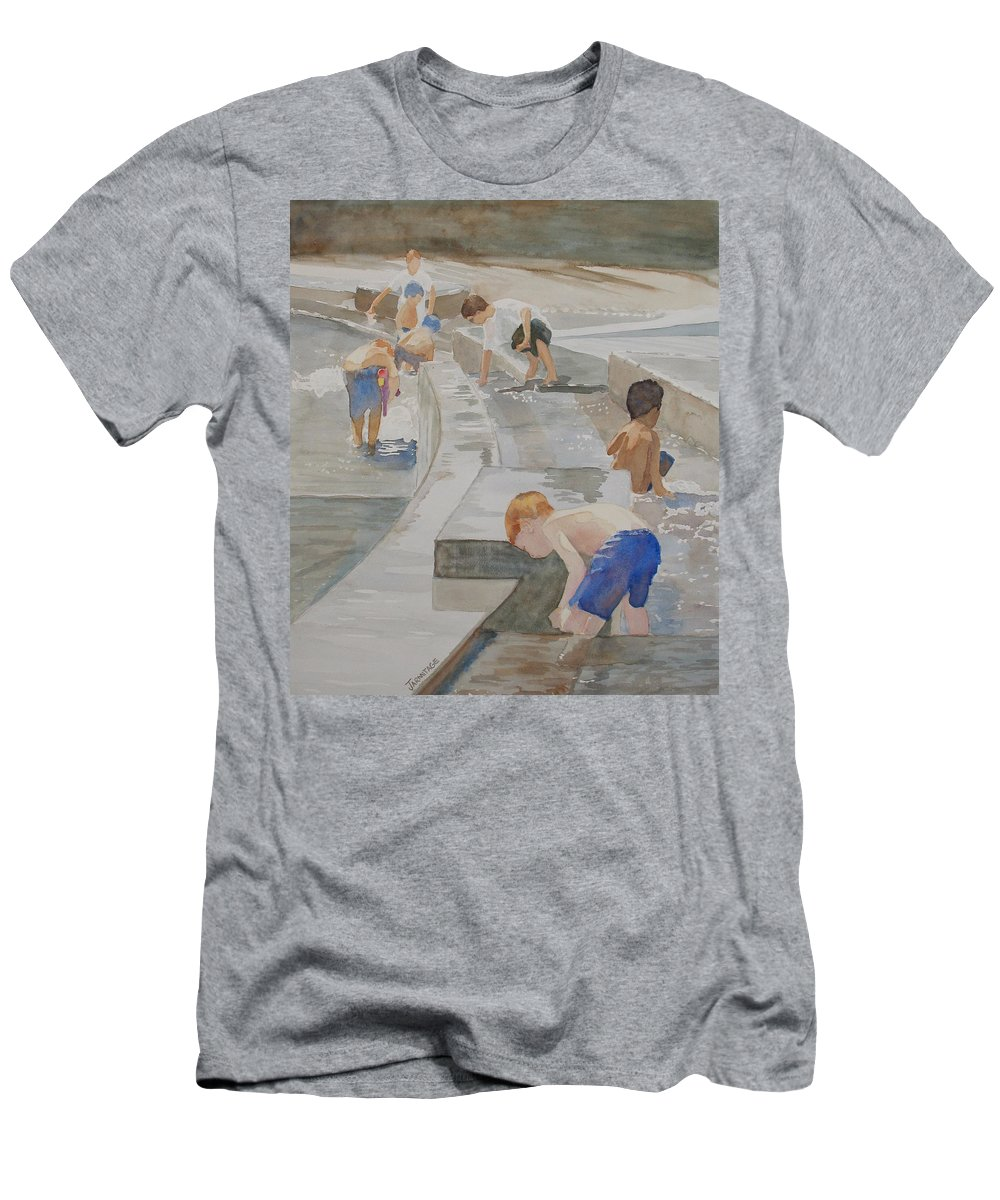 Boys Men's T-Shirt (Athletic Fit) featuring the painting Memorial Day Waterworks by Jenny Armitage