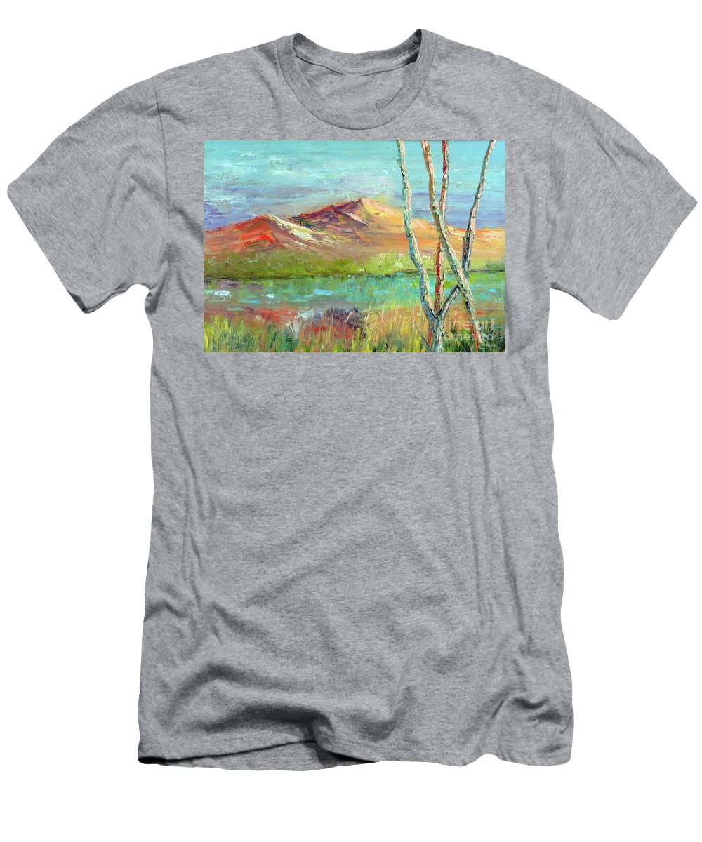 Landscape Men's T-Shirt (Athletic Fit) featuring the painting Memories Of Somewhere Out West by Marlene Book
