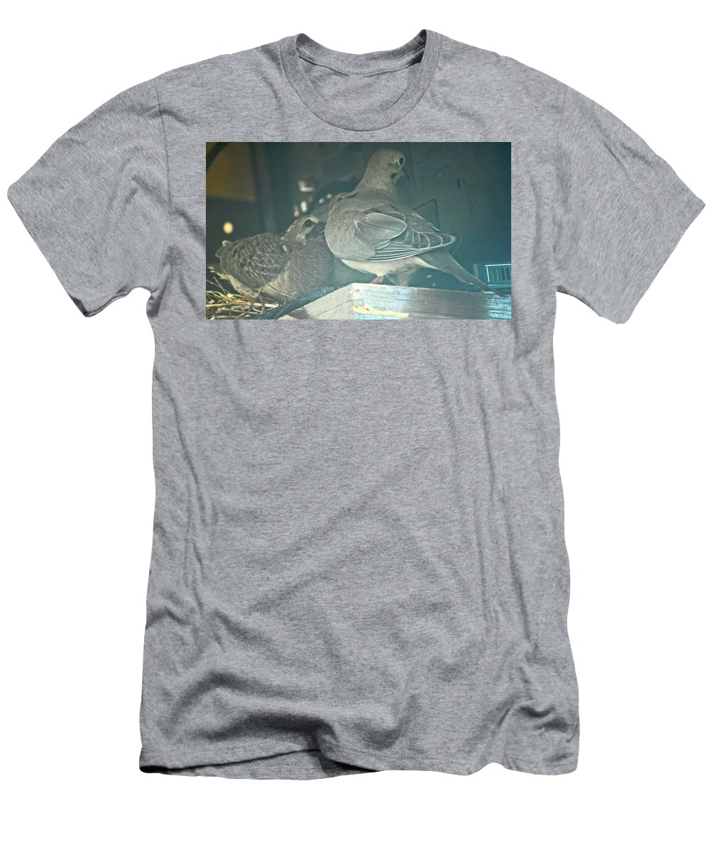 Mourning Doves Men's T-Shirt (Athletic Fit) featuring the photograph Menage E Trois by Jay Milo