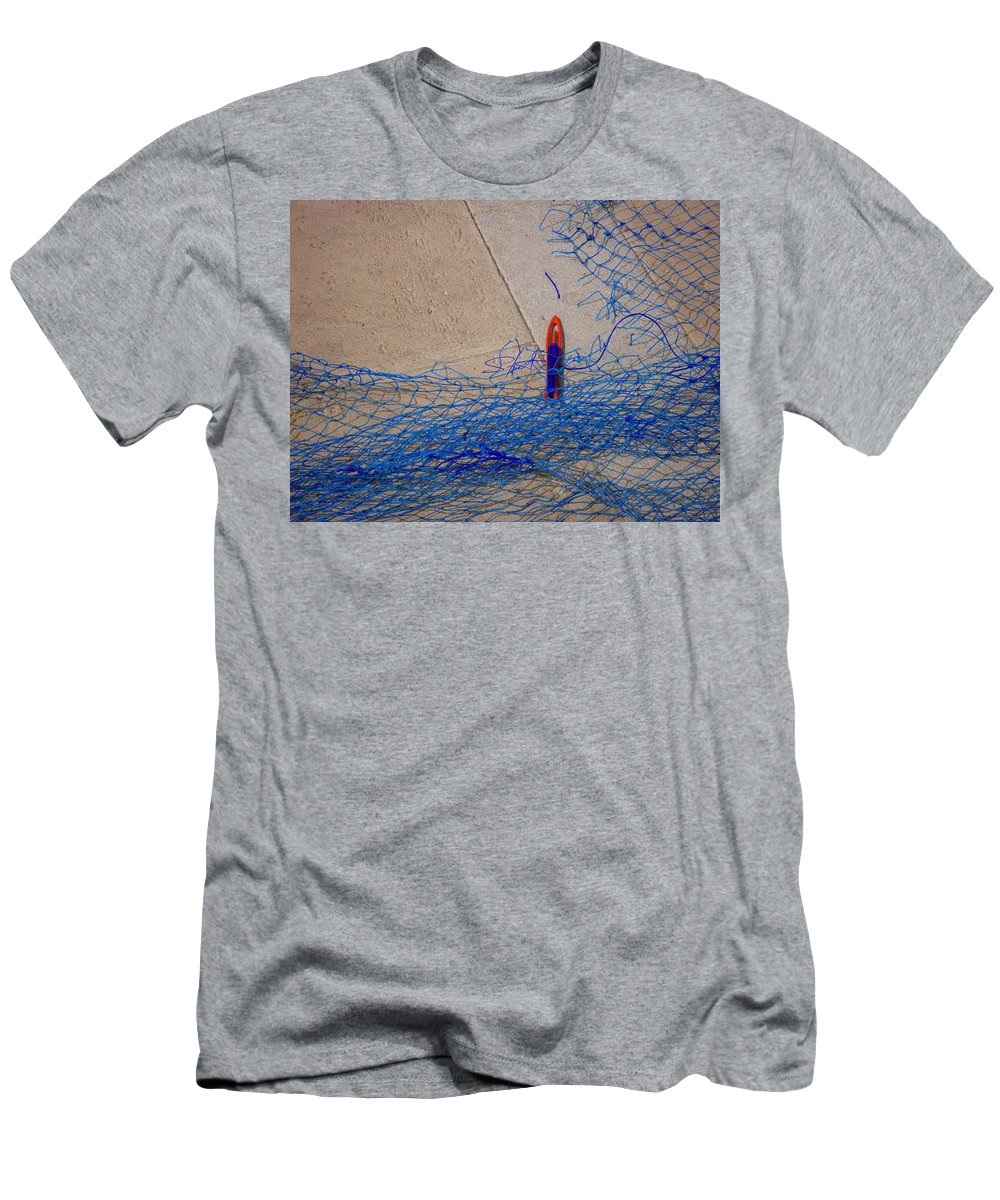 Fishing Net Men's T-Shirt (Athletic Fit) featuring the photograph Mending The Net by Charles Stuart
